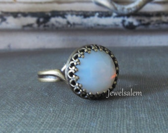 Moonstone Ring Opal Ring Fairy Ring Fantasy Silver Ring Gold Brass Ring White Opal Glass Translucent Milky Cloudy Winter Snow Modern Jewelry