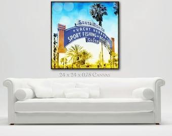 Santa Monica Sign Canvas Wall Art, Surfer Art Canvas, Retro Beach Photogrpahy Wall Art, California Art, Large Beach Wall Art, Surfer Decor