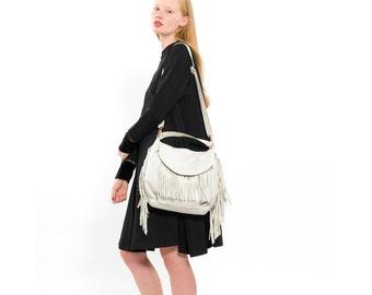 Womens White Leather Fringe Handbag, Boho Fashion Fine Leather Hobo Bag, Slouchy Western Carryall Purse, Handmade Everyday Handbag, Sack Bag