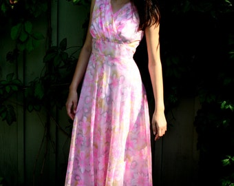 vintage pink floral early1970s Maxi Dress Small to Medium Chiffon Styled by Linda Jane overlay Full Skirt Bridesmaid Gown