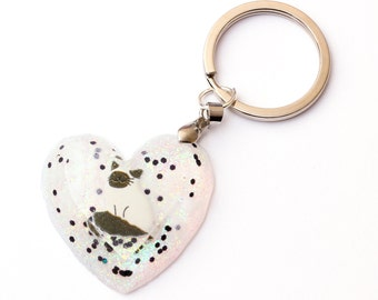 White Cat Heart Keychain