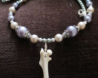 Real Squirrel Bone Delicate Beaded Necklace