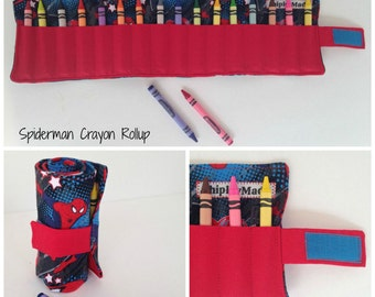 Spiderman Crayon Holder Rollup - Crayon Roll - Crayon Storage - Travel Carrier - Crayon Case - Holds 15 crayons!