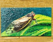 Summer Cicada Oil Hand Painted Magnet ACEO