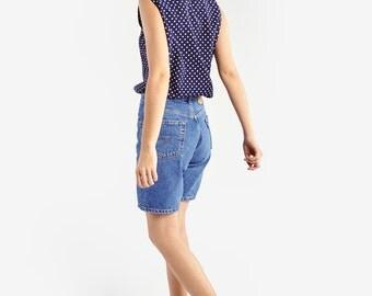 Blue Sleeveless Shirt with Polka Dot