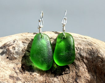 Hawaiian Emerald Green Beach Glass on 925 Sterling Silver Wire Wrapped Earrings
