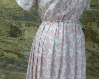 VINTAGE DAY DRESS pink woven leslie fay 1980's does 1950's S