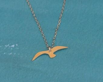 Gold Bird Necklace , Flying Bird Silhouette Jewelry , Gold filled necklace ,  Birds Lover , Flying Bird , Swallow Bird , Bird Jewelry