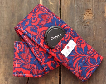 Camera Strap Cover- lens cap pocket and padding included- Red and Navy