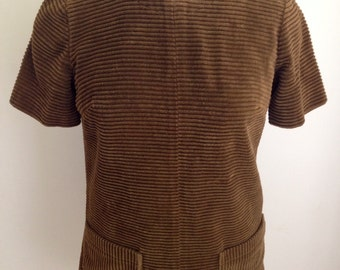 "Vintage 1960s R.C. Quinn Women's Brown Corduroy Short Sleeve Mini Dress 36"" Bust S M"