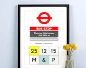 Personalised Bus Stop Print, London Poster, Personalised Print, London Bus, Anniversary Gift, Valentines Gift, Engagement Gift, Wedding Gift