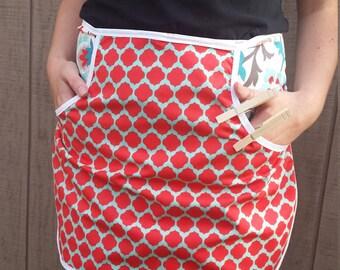 Clothespin Apron - Red, Aqua & White