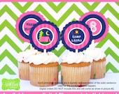 Girl Camping Party Circles - Camping Cupcake Toppers - Glam Camping Toppers - Glamping - Digital and Printed Available