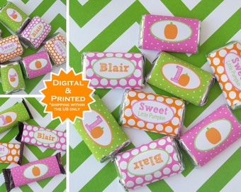 Pumpkin Candy Bar Wrappers - Pumpkin Chocolate Bar Wrappers - Little Pumpkin Party Favors - Little Pumpkin Wrappers - Digital and Printed
