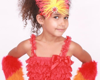 READY TO SHIP: Fiery Phoenix Stretchy Feather Headband - Red Orange Yellow - Bird Costume Accessory - Fits toddler to adult