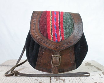 Vintage Small Tooled Leather with Woven Kilim Handbag