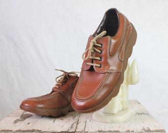 Vintage 70's Cognac Brown Lace Shoes Sz 8