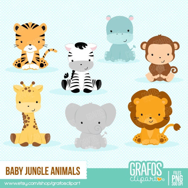 baby jungle animals digital clipart set animals clipart. Black Bedroom Furniture Sets. Home Design Ideas