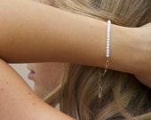 Floral White 14k Gold Filled Chain Bracelet