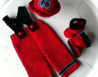 3 pc. Fireman Helmet - Fireman Pants and Boots Photo Prop Set  Halloween Costume Crocheted Fireman Set