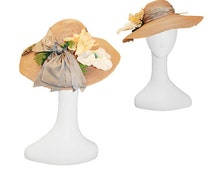 1980s Frank Olive Straw Hat, Wide Brim Straw, Yellow & White Silk Flowers, Gray Silk Hatband