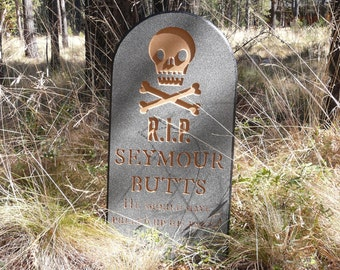 Halloween Tombstone Seymour Butts Lawn Yard Ornament Sign - Grave Head Stone Tomb Creepy Scary Decoration Holiday Decor - Personalize Custom