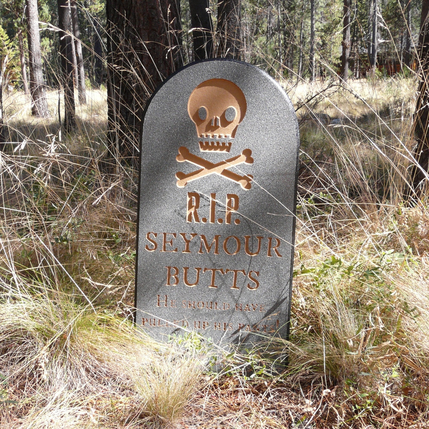 Halloween tombstone seymour butts lawn yard ornament sign - Deco halloween exterieur ...