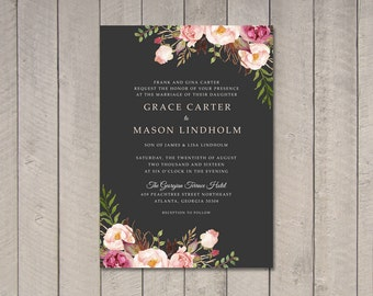 Floral Wedding Invitation (Printable) DIY by Vintage Sweet