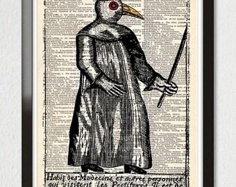 HALLOWEEN Macabre Plague Witch Doctor Art Print, Steampunk Bird Mask Dictionary Art Poster, Antique Book Page, Halloween Dorm Decor GICLEE