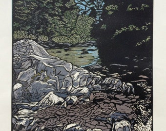 White Mountain Stream Block Print