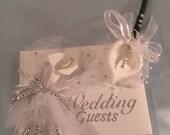 Wedding Guestbook Set, Wedding Book, Flower Pen, Guestbook Pen, White Calla Lily Pen, Rhinestones
