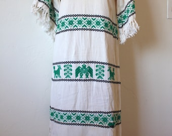 Vintage 1960's Mexican Embroidered Peasant Dress