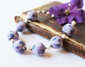 Purple White Necklace Purple beaded Necklace Statement Necklace Polymer Clay Necklace Flower Necklace Boho style jewelry Colorful jewelry