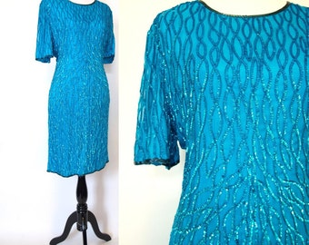 Vintage 80s silk aqua blue sequin party shift dress size medium M