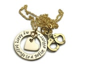 My Heart Belongs To A Police Officer Firefighter Cop Hero Marine Coastie Soldier Stamped Personalized Gold Brass Custom Necklace
