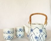 Tea Set Teapot 22 fl. oz. and Sake Cups 4 fl. oz. Hand Painted Abstract Blue Floral
