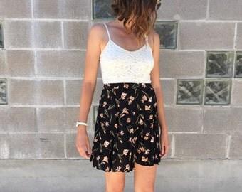 90s Iris print high waisted mini skirt