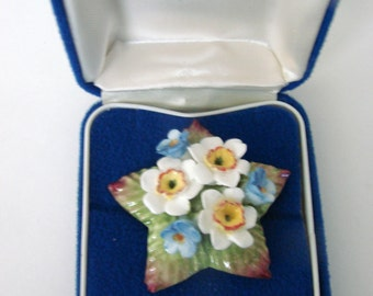 Aynsley England Bone China  Floral Brooch / Signed / Hand Painted  / Original Box / Vintage / Jewelry / Jewellery