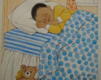 Original watercolor painting by Sylvia Walker of Little Boy Sleeping, vintage