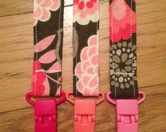 Brown and Pink Floral Binky Clip