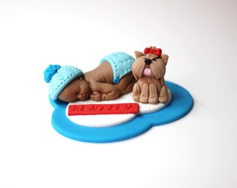 Baby shower cake topper Fondant Baby with Dog - Christening Baptism fondant First birthday fondant topper - Fondant Dog Topper