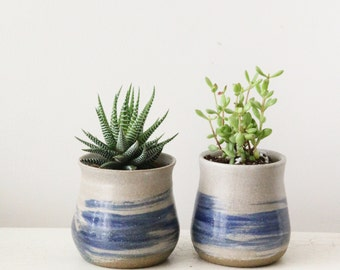 Set of 2 - Ceramic planter, Succulent planter, Ceramic plant pot, Home decor, Hand decorated, Ceramic Pots
