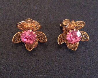 Pink Rhinestone Earrings, Flower, Vintage Jewelry,  SUMMER SALE