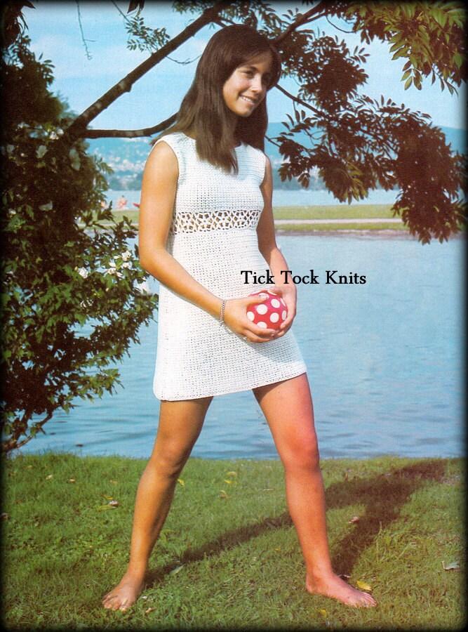 No425 Pdf Crochet Pattern - Womens  Teen Girls Mini Dress - Vintage 1970S Retro -1168