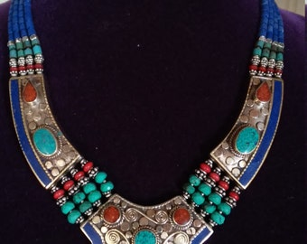 Gorgeous Bohemian Nepalese Turquoise Coral Lapis Lazuli Necklace