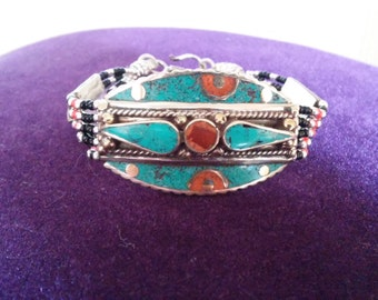Lovely Bohemian Nepalese Turquoise Coral with Black and Red Seed Bracelet