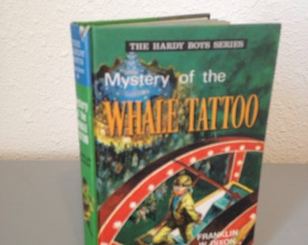 Vintage Hardy Boys Hardcover Book, The Mystery of the Whale Tattoo, #4 UK Collins Hardy Boys Series, Colour Hardcover