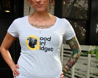 All sizes women's Animal rights Good girl Gidget logo rescue light grey scoop or Crew shirt Benefits dog cat rescue