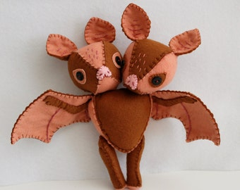 Two-Headed Bat Felt Doll Plush Toy Made to Order