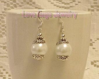 White Pearl Earrings - White Pearl Earrings, Gemstone Earrings, Dangle Earrings, Beaded Earrings